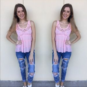 Hollister Pink Floral Lace Tank Top Size XS